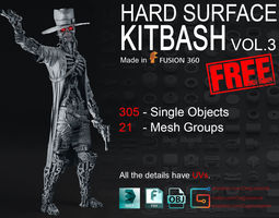 various-models 3D model FREE Hard Surface KitBash Volume 3