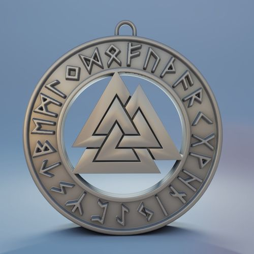 medallion valknut for 3d print 3d model obj mtl fbx stl blend ply 1