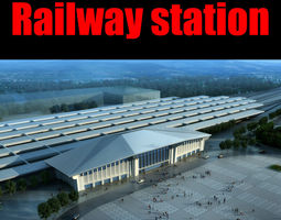 railway station 010 rigged 3d model