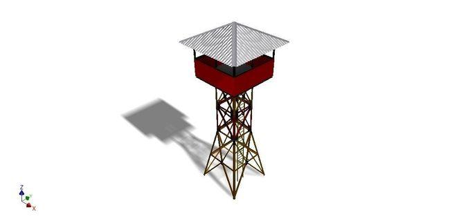 military tower 3d model obj mtl dwg ige igs iges stp 1