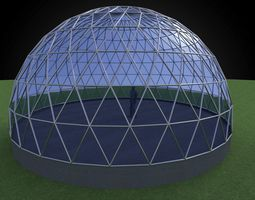 3D asset Geodesic dome like structure with triangulated