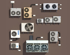 Air conditioning PACK Low Poly 3D asset