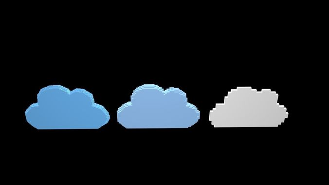 3d Model Cloud Symbols Voxel Cgtrader