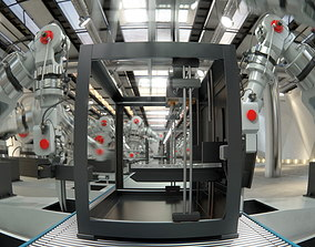 Robotic Factory Production 3d Printer Scene Vray animated