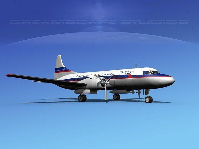 convair cv-340 convair liner 3d model max obj mtl 3ds lwo lw lws dxf stl 1