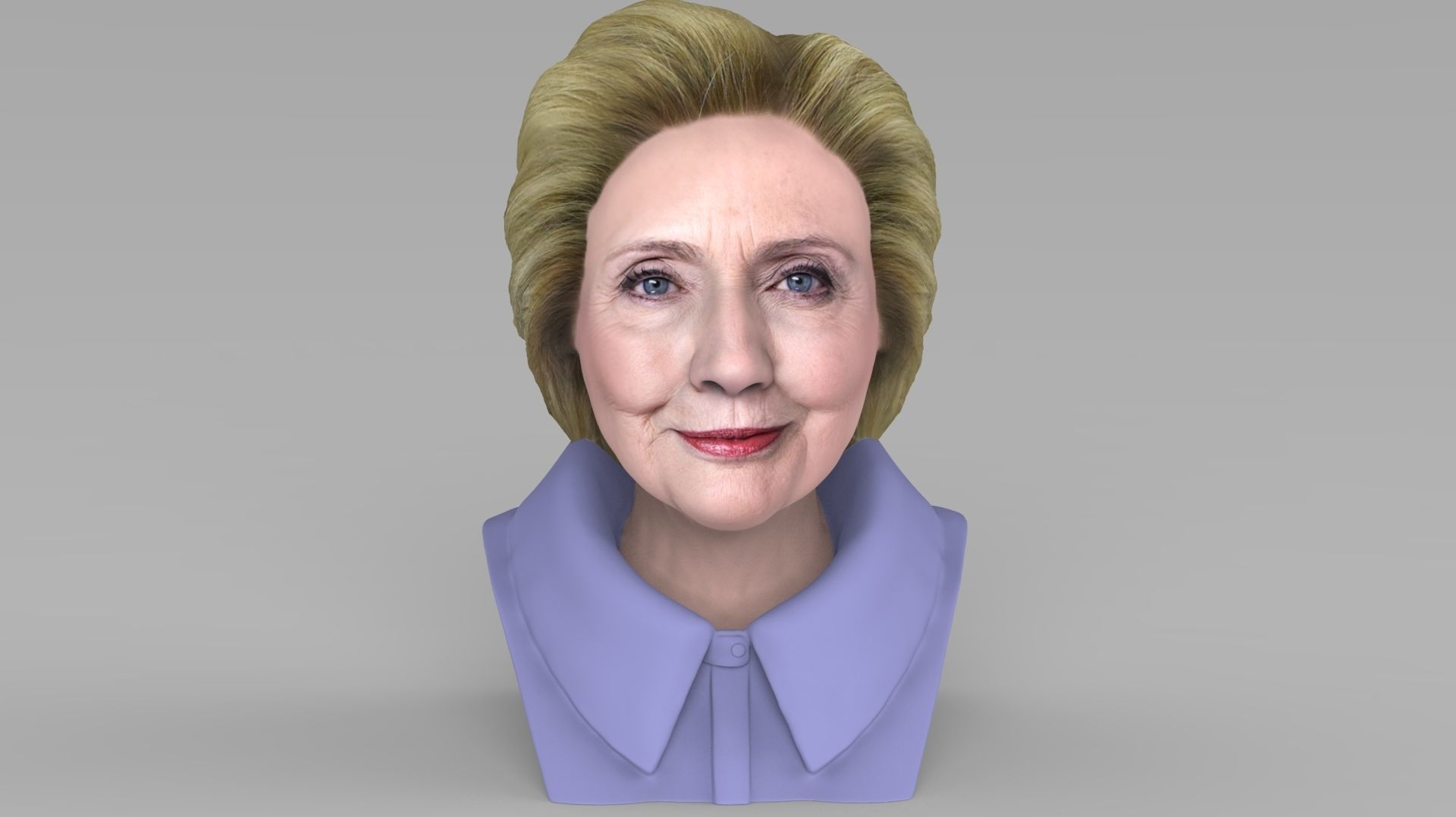 Hillary Clinton bust ready for full color 3D printing