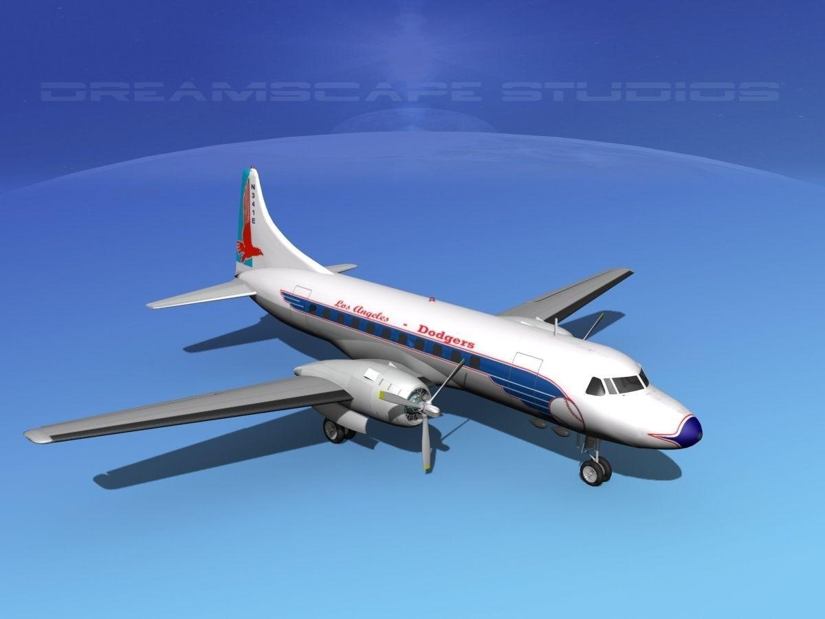 convair cv-340 la dodgers 3d model max obj mtl 3ds lwo lw lws dxf ...