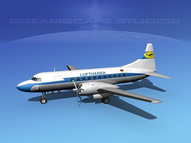 convair cv-340 lufthansa 3d model max obj 3ds lwo lw lws dxf stl 1