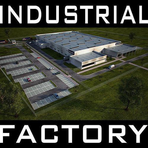 industrial building Full Scene Render Ready3D model
