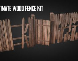 ultimate wood fence kit VR / AR ready 3d model