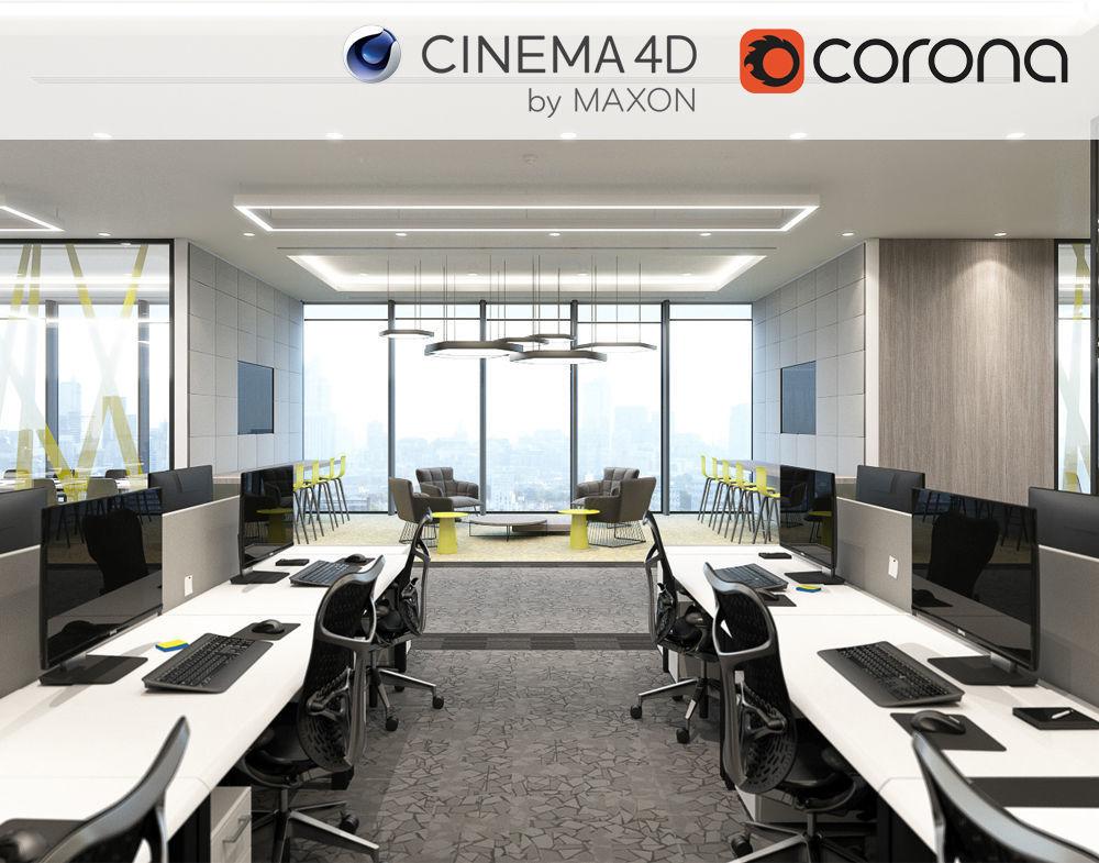 Corona - C4D scene files - Office Space Interior 3D model