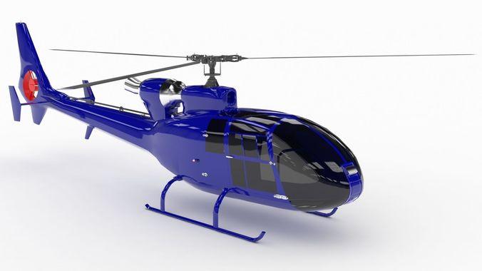 helicopter sa342 gazelle   3d model low-poly max obj mtl 3ds fbx 1