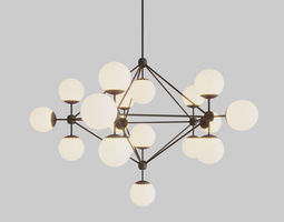 3D model MODO CHANDELIER BLACK AND WHITE GLASS 15-21 2