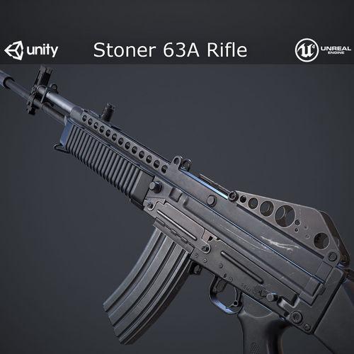 stoner 63a rifle 3d model low-poly max obj mtl fbx spp tbscene tbmat 1