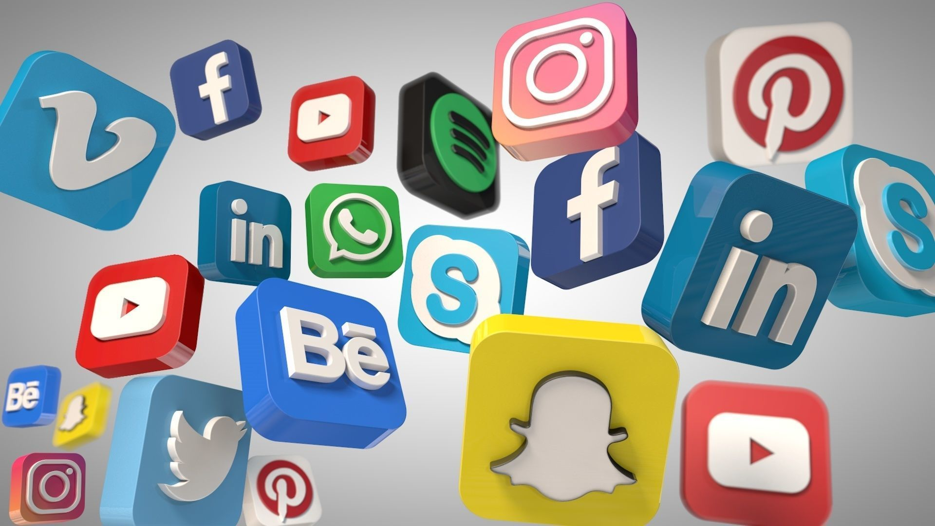 Social Media Icons 3d