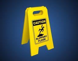 3D asset Slippery Floor Sign