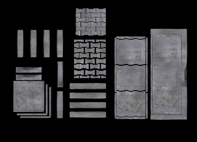 set of pavement modular sett 3d model max obj mtl fbx tga 1