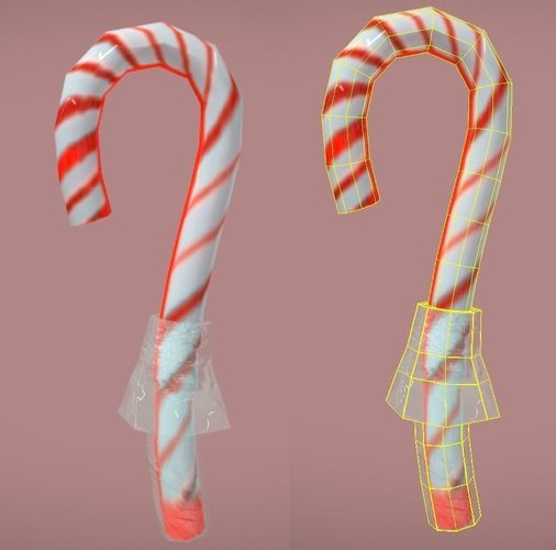 candycane lowpoly with wrapper 3d model low-poly fbx 1