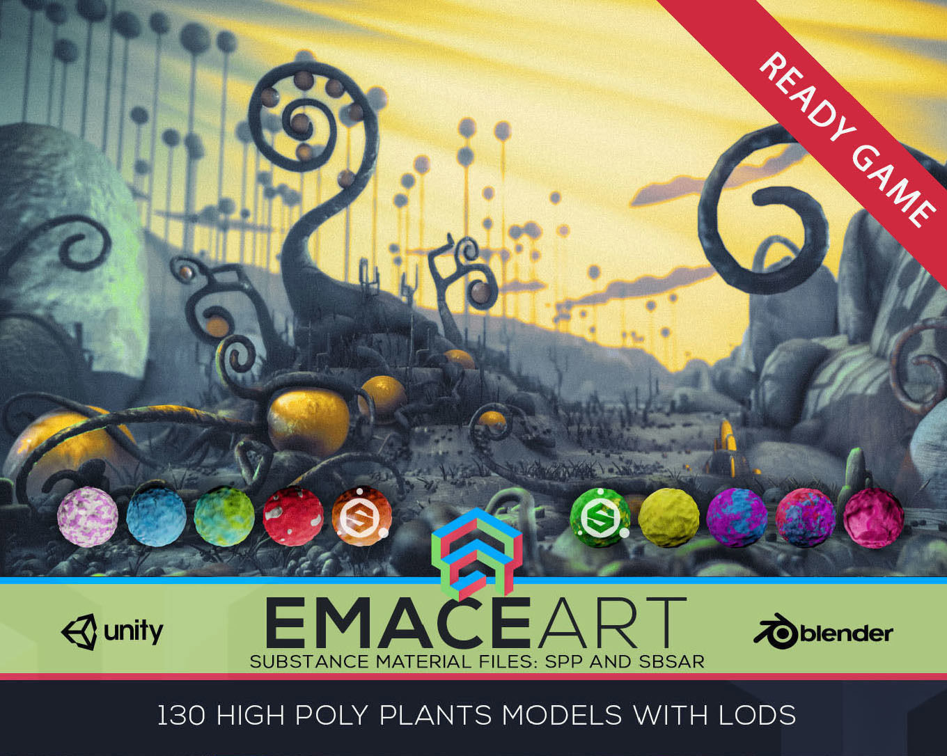 High Poly Magic Forest In the Plasticine World LODs