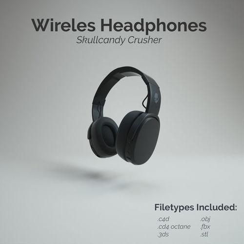 skullcandy crusher wireless headphone 3d model low-poly obj mtl 3ds fbx c4d dxf stl 1