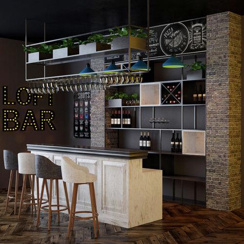 loft bar collection 3d model max fbx 1
