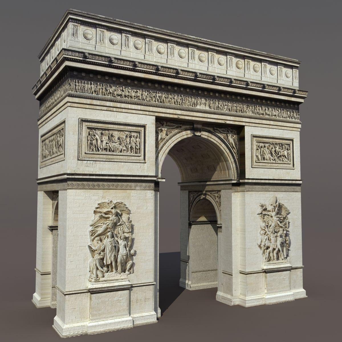 Arc de Triomphe 3D Model Game ready .max .obj .3ds .lwo ...