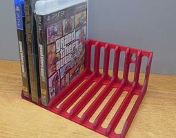 3d printable model game disk and dvd storage rack