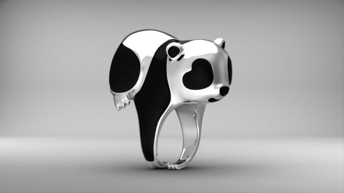 panda ring  enamel nature jewelry animal jewellery 3dm stl file 3d model obj mtl 3ds fbx stl blend 3dm 1