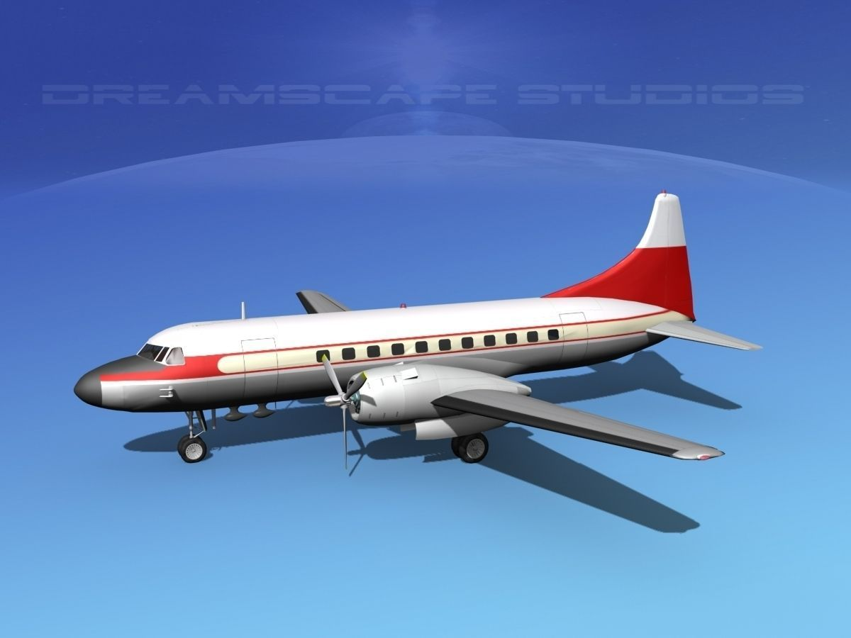 convair cv-340 private 2 3d model rigged  max  obj  3ds  lwo  lw  lws  dxf  stl
