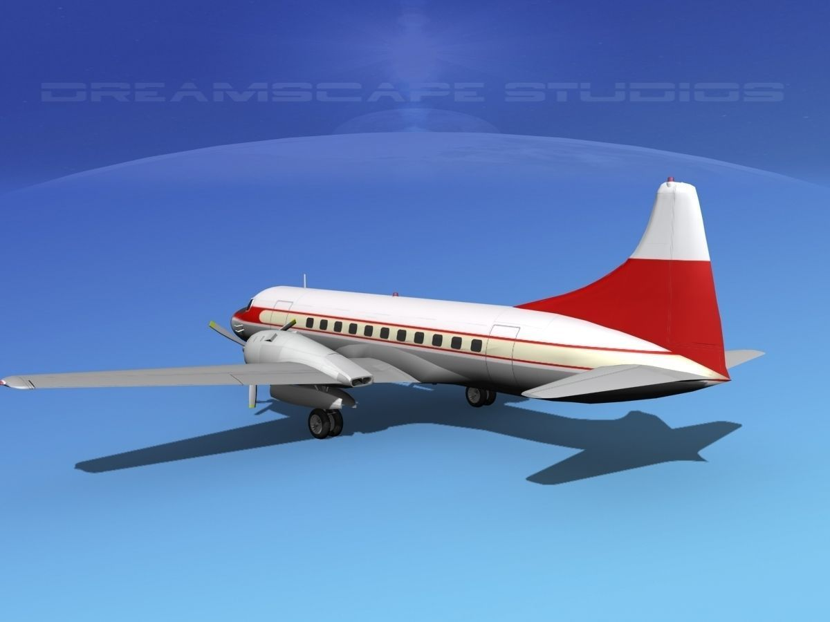 convair cv-340 private 2 3d model rigged  max  obj  3ds  lwo  lw  lws  dxf  stl