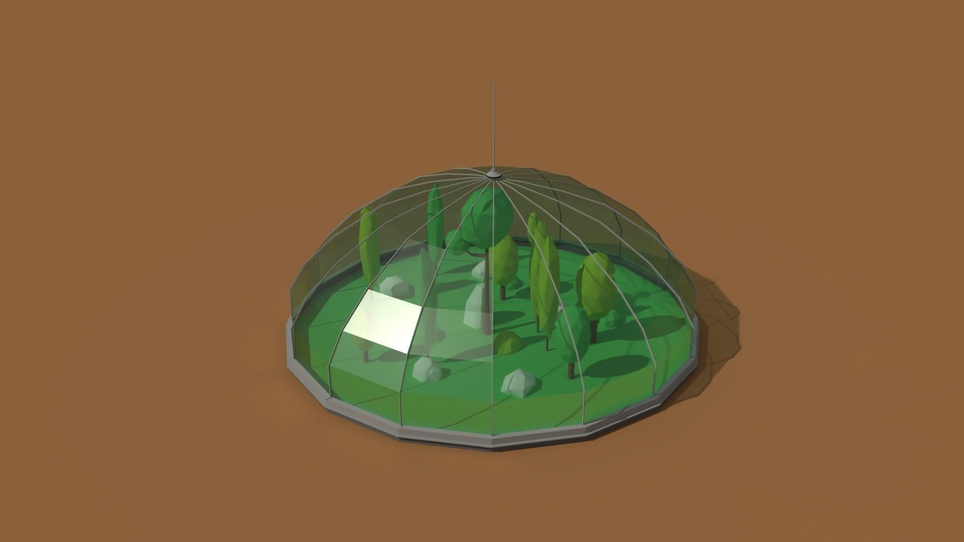 Low Poly Scifi Greenhouse