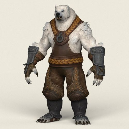 game ready warrior bear 3d model low-poly max obj mtl fbx c4d ma mb 1