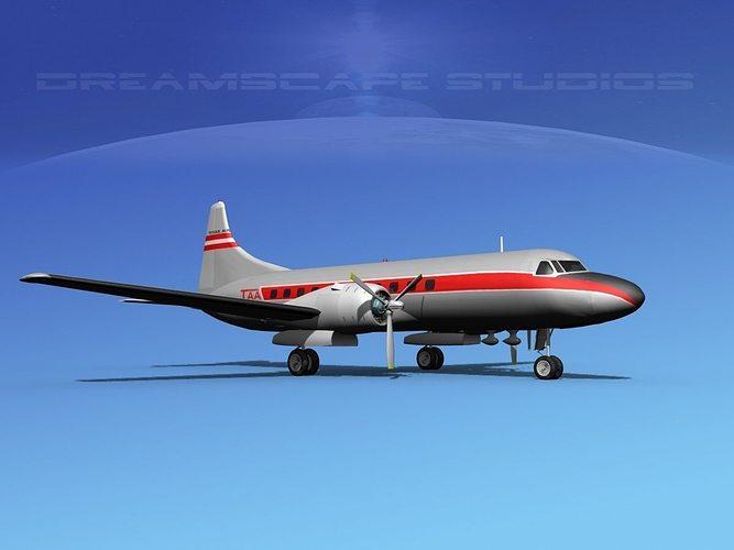 convair cv-340  texas airlines 3d model max obj 3ds lwo lw lws dxf stl 1