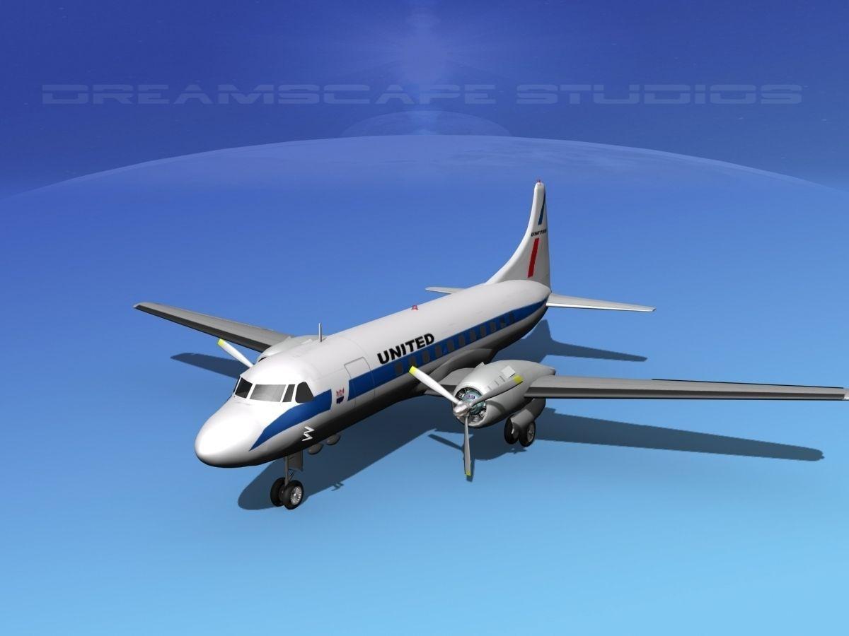 ... convair cv-340 united airlines 3d model max obj mtl 3ds lwo lw lws dxf  ...