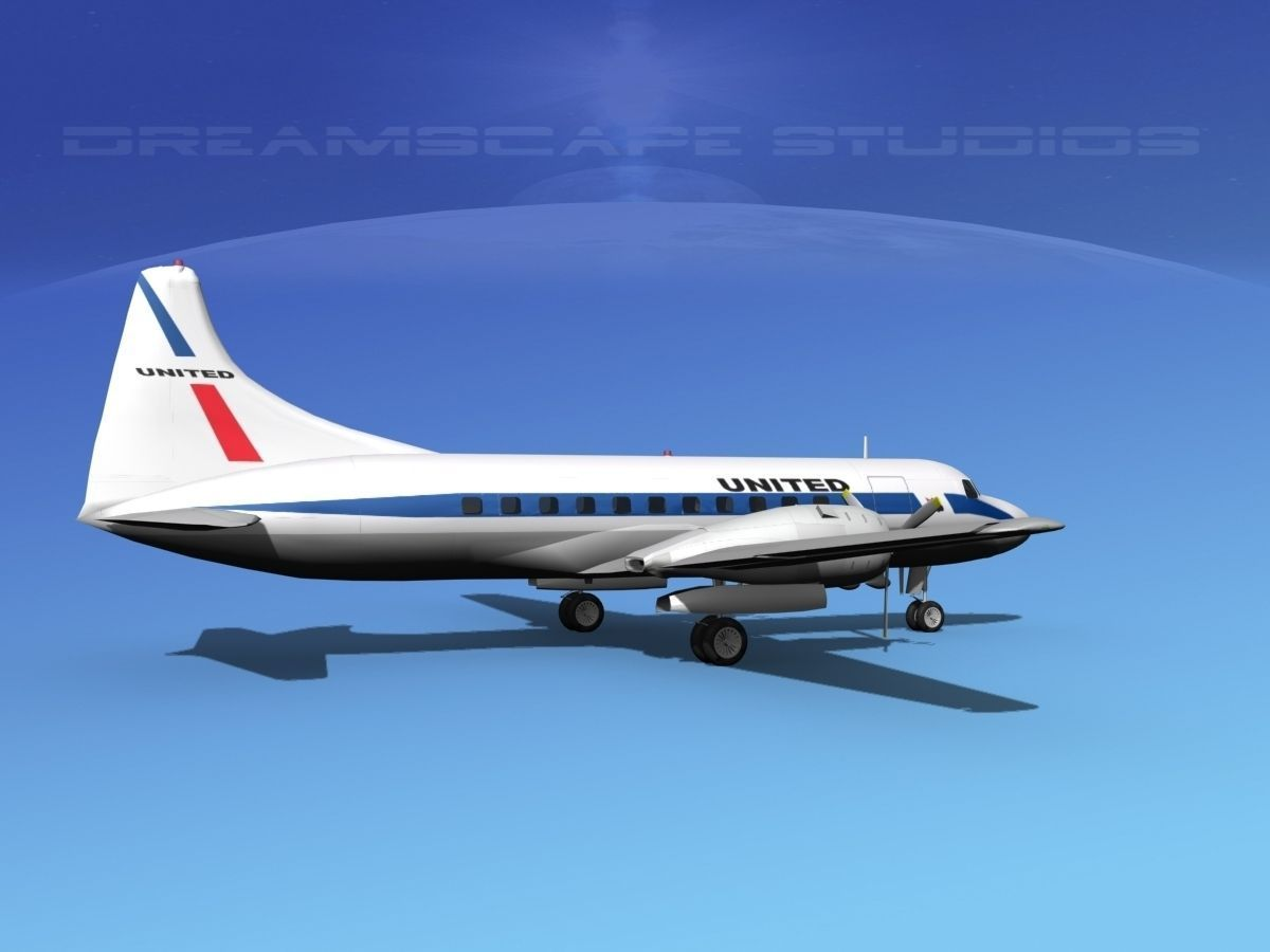 convair cv-340 united airlines 3d model rigged max obj 3ds lwo lw lws dxf stl