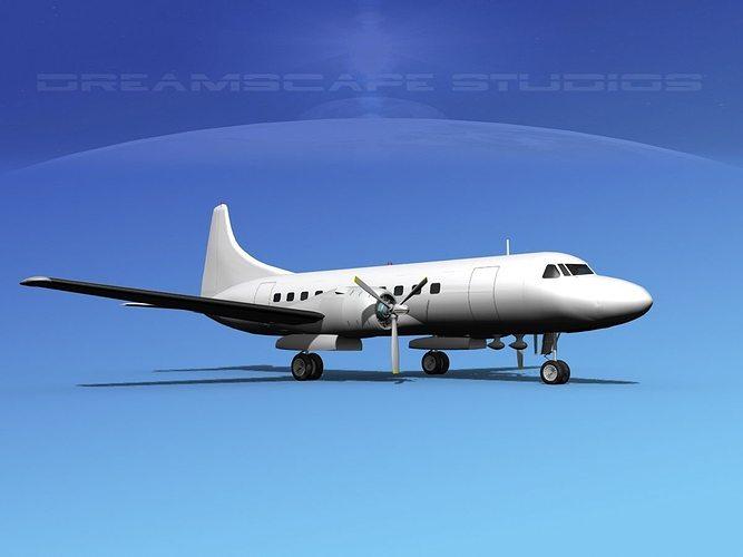 convair cv-340 unmarked 2 3d model max obj 3ds lwo lw lws dxf stl 1