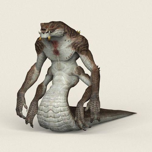 game ready fantasy cobra snake 3d model low-poly max obj mtl fbx c4d ma mb 1