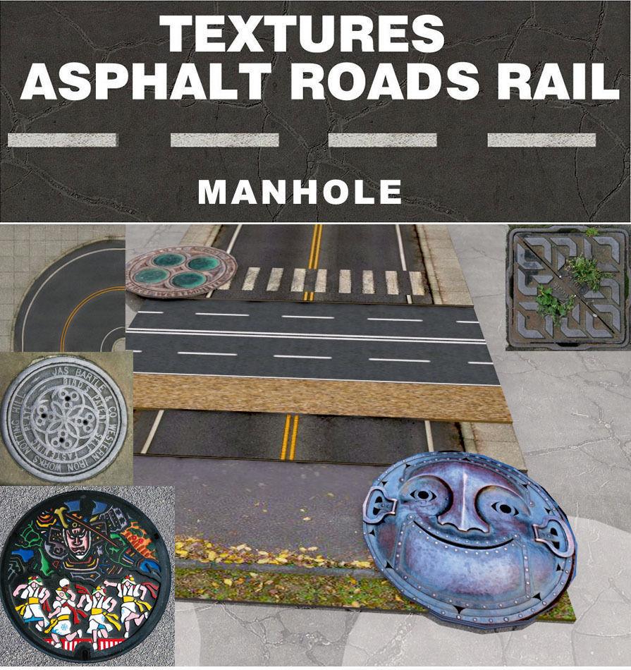 ROAD - MANHOLE - ASPHALT - PARKING - TEXTURE PACK - JBG