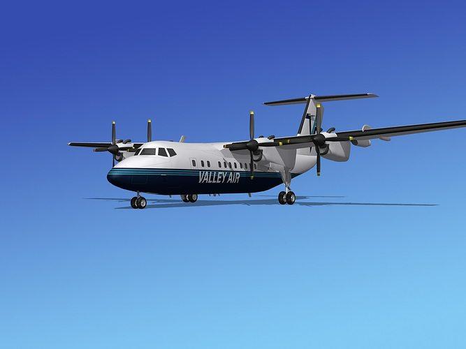 dehavilland dhc-7 valley air charter 3d model max obj 3ds lwo lw lws stl 3dm 1