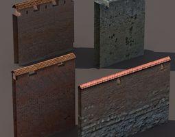 Castle Walls Low Poly 3d Model 3D Model