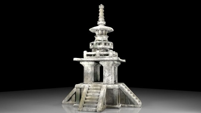 korean stone pagoda 3d model obj mtl fbx ma mb 1
