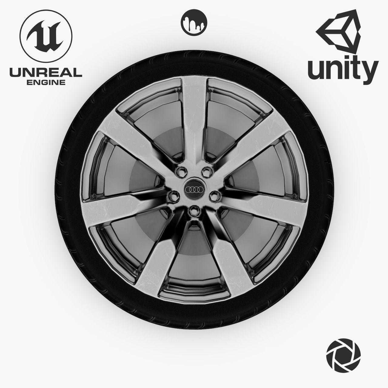 Wheel Steel-Chrome Alloy Rim Audi 19 inch Yokohama based Tire
