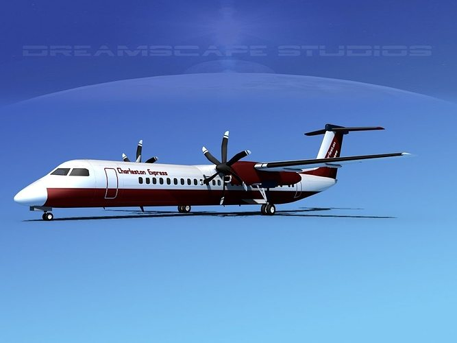 dehaviland dhc-8 400 charleston express 3d model max obj 3ds lwo lw lws stl 3dm 1