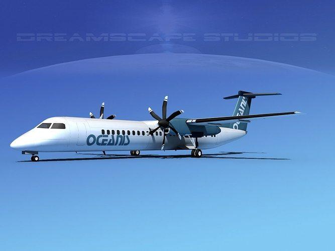 dehaviland dhc-8 400 oceanis air charter 3d model max obj mtl 3ds lwo lw lws stl 3dm 1