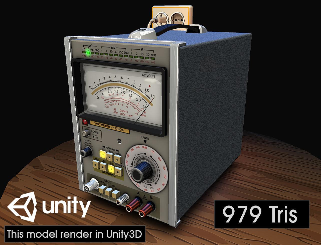 Electronic Instrumentation Voltmeter 3d Asset Cgtrader Voltmeters Model Obj Mtl Fbx Ma Mb Tga 3