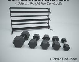 Hex Dumbbell Set and Rack 3D asset