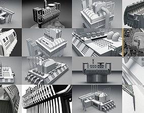 3D model Moon Building Pack 4in1