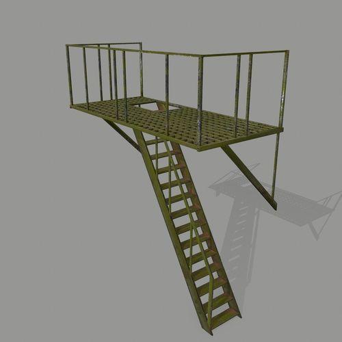 fire escape 3d model low-poly obj mtl fbx blend 1