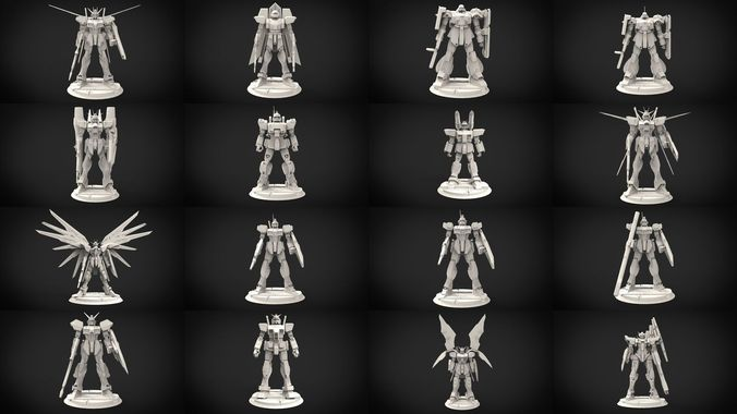 115 gundam minature collection 3d model obj mtl 3ds fbx hrc xsi dxf stl 1