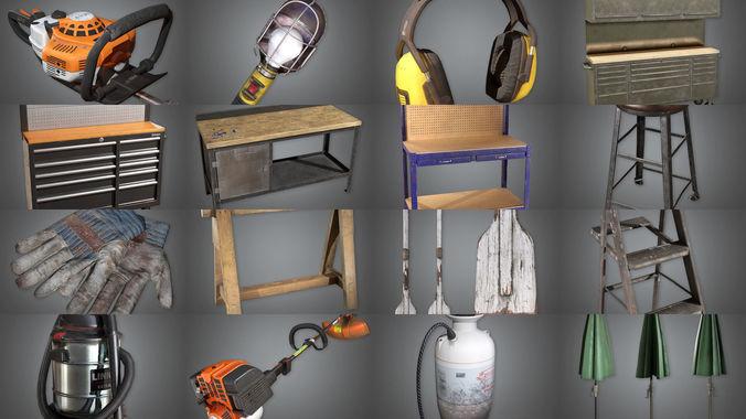 collection- toolshed props combo ultra set 3d model obj mtl fbx ma mb tga 1